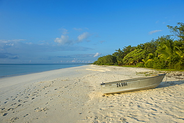 White sand beach at sunset, Ouvea, Loyalty Islands, New Caledonia, Pacific