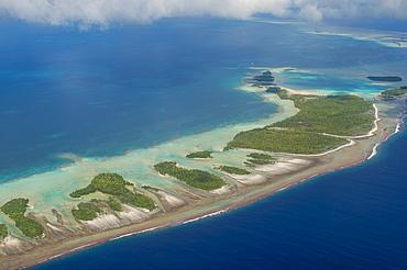 Aerial of the blue lagoon in Rangiroa, Tuamotus, French Polynesia, Pacific