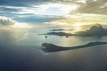 Aerial of Bora Bora, Society Islands, French Polynesia, Pacific