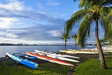 Many kayaks on the beach of Papeete, Tahiti, Society Islands, French Polynesia, Pacific