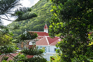 Traditional houses in Windwardside, Saba, Netherland Antilles, West Indies, Caribbean, Central America