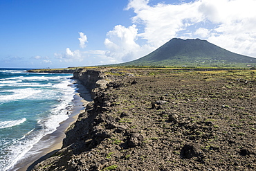 Costaline in front of the Quill hill, St. Eustatius, Statia, Netherland Antilles, West Indies, Caribbean, Central America