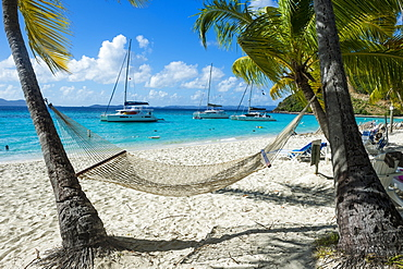 Hammock hanging on famous White Bay, Jost Van Dyke, British Virgin Islands, West Indies, Caribbean, Central America