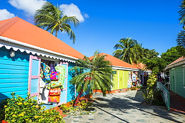 Colourful souvenir shops in Roadtown, Tortola, British Virgin Islands, West Indies, Caribbean, Central America