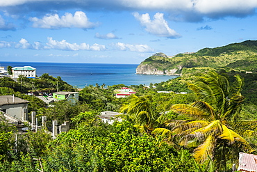 View over Little Bay, Montserrat, British Overseas Territory, West Indies, Caribbean, Central America
