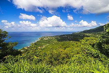 View over the coastline of Montserrat, British Overseas Territory, West Indies, Caribbean, Central America