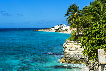 View over the cliffs of Mullet Bay, Sint Maarten, West Indies, Caribbean, Central America