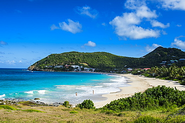 View over Flamand Beach, St. Barth (Saint Barthelemy), Lesser Antilles, West Indies, Caribbean, Central America