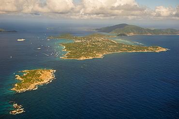 Aerial of Virgin Gorda, British Virgin Islands, West Indies, Caribbean, Central America
