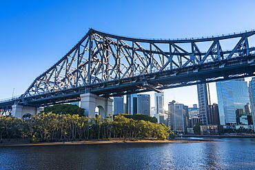 Iron train bridge (Story Bridge) across Brisbane River, Brisbane, Queensland, Australia, Pacific