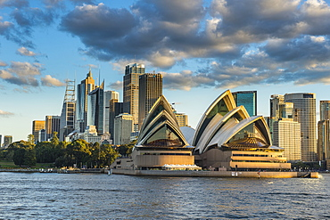 The Sydney Opera House, UNESCO World Heritage Site, and skyline of Sydney at sunset, New South Wales, Australia, Pacific