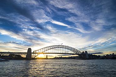 Sydney harbour bridge at sunset, Sydney, New South Wales, Australia, Pacific
