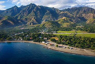 Aerial of the costal exclave Oecusse (Oecussi), East Timor, Southeast Asia, Asia