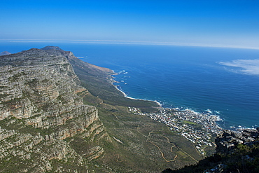 View over Camps Bay, Cape Town, Table Mountain, South Africa, Africa