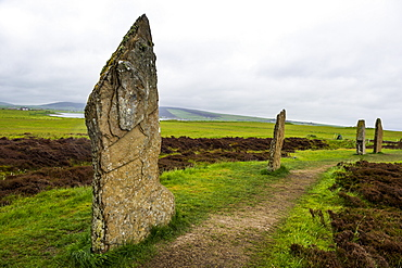 The stone circle, Ring of Brodgar, UNESCO World Heritage Site, Orkney Islands, Scotland, United Kingdom, Europe