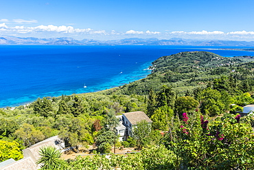 View over the coastline from the mountain village of Chlomos, Corfu, Ionian Islands, Greek Islands, Greece, Europe