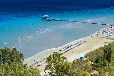 View over Apraos Beach, northern Corfu, Ionian islands, Greek Islands, Greece, Europe