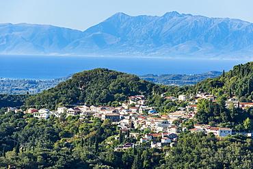 Little mountain village in the interior, Corfu, Ionian islands, Greek Islands, Greece, Europe