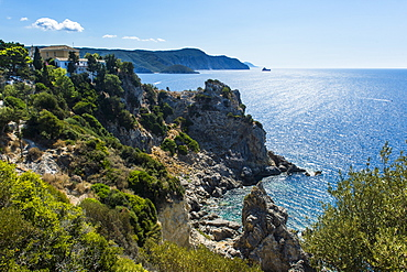 Beautiful coastline, Paleokastritsa, Corfu, Ionian islands, Greek Islands, Greece, Europe