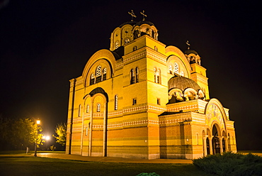Nightshot of the Orthodox Christian church in Apatin on the Danube, Vojvodina province, Serbia, Europe