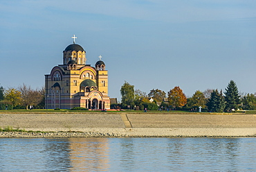 The Orthodox Christian church in Apatin on the River Danube, Vojvodina province, Serbia, Europe