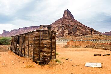 Old wagon in the sand, Hijaz railway station, Al Ula, Saudi Arabia, Middle East