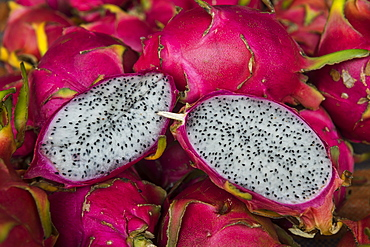 Pitaya fruits for sale at the market of Cacao, French Guiana, Department of France, South America