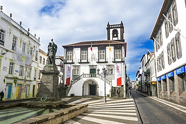 City hall in the historic town of Ponta Delgada, Island of Sao Miguel, Azores, Portugal, Atlantic, Europe