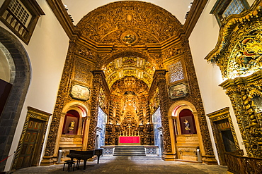 Beautiful carved altar, largest in Portugal, College Jesuit church, Ponta Delgada, Island of Sao Miguel, Azores, Portugal, Atlantic, Europe