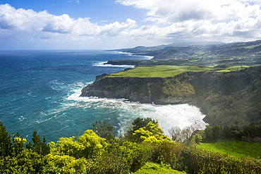 View over the northern coastline from the viewpoint Santa Iria, Island of Sao Miguel, Azores, Portugal, Atlantic, Europe