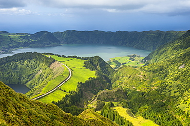 View over the Sete Cidades crater, Island of Sao Miguel, Azores, Portugal, Atlantic, Europe