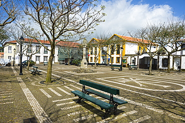 Town square of Sao Sebastiao, Island of Terceira, Azores, Portugal, Atlantic, Europe
