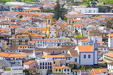 View over Praia da Vittoria from the Gazebo Torch Monument, Island of Terceira, Azores, Portugal, Atlantic, Europe