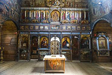 Beautiful paintings in the wooden St. George's Church, UNESCO World Heritage Site, Drohobych, Ukraine, Europe