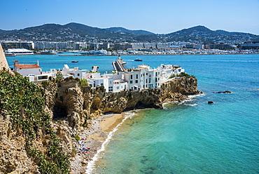 View over Eivissa Town (Ibiza Town), Ibiza, Balearic Islands, Spain, Mediterranean, Europe