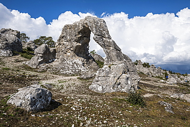 Beautiful arch at Legravsporten sea stacks, Gotland, Sweden, Scandinavia, Europe