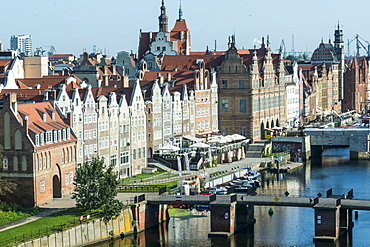 View over the old town center of Gdansk, Poland, Europe