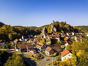 Aerial of the rock church village Tuechersfeld, Franconian Switzerland, Bavaria, Germany, Europe
