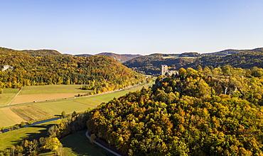 Aerial of castle Neideck in autumn, Streitberg, Franconian Switzerland, Bavaria, Germany, Europe
