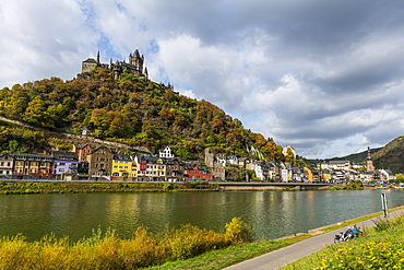 View over Cochem and its castle on the Moselle River, Rhineland-Palatinate, Germany, Europe
