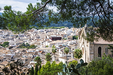 View over Arta from the Sanctuary of Sant Salvador, Arta, Mallorca, Balearic Islands, Spain, Mediterranean, Europe