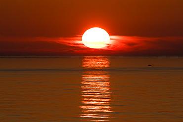 Beautiful sunset in Kola Bay, Murmansk, Russia, Europe