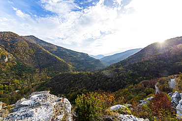 View in the Rhodope mountains from the Church of St. Mary of Petrich, Assen fortress, Asenovgrad, Bulgaria, Europe