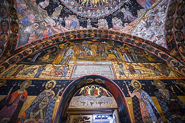 Wall murals in the Bachkovo Monastery, Rhodope mountains, Bulgaria, Europe