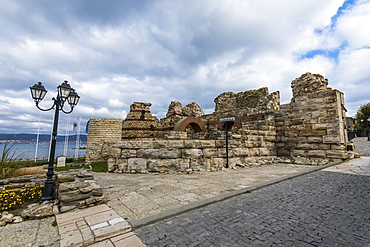 Ruins of medieval fortification walls, Nessebar, UNESCO World Heritage Site, Bulgaria, Europe