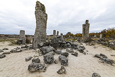 Stone desert Pobiti Kamani rock phenomenon, near Varna, Bulgaria, Europe