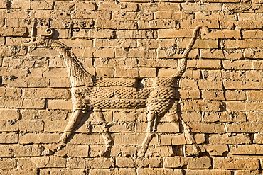 Mushussu (sirrush) and aurochs relief, Babylon, Iraq, Middle East