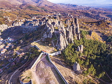 Aerial of Belogradchik fortress, Belogradchik, Bulgaria, Europe