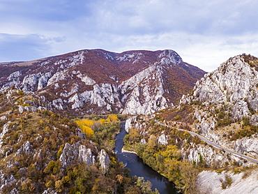 Aerial of Iskar Canyon in autumn, Bulgaria, Europe