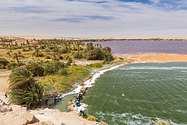 Two coloured lake, part of the Ounianga lakes, UNESCO World Heritage Site, northern Chad, Africa